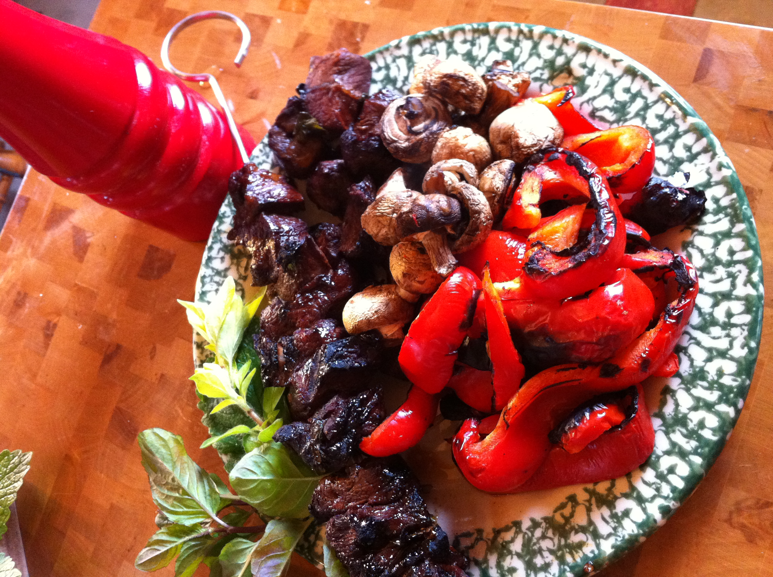 Kebab with red pepper and mushroom