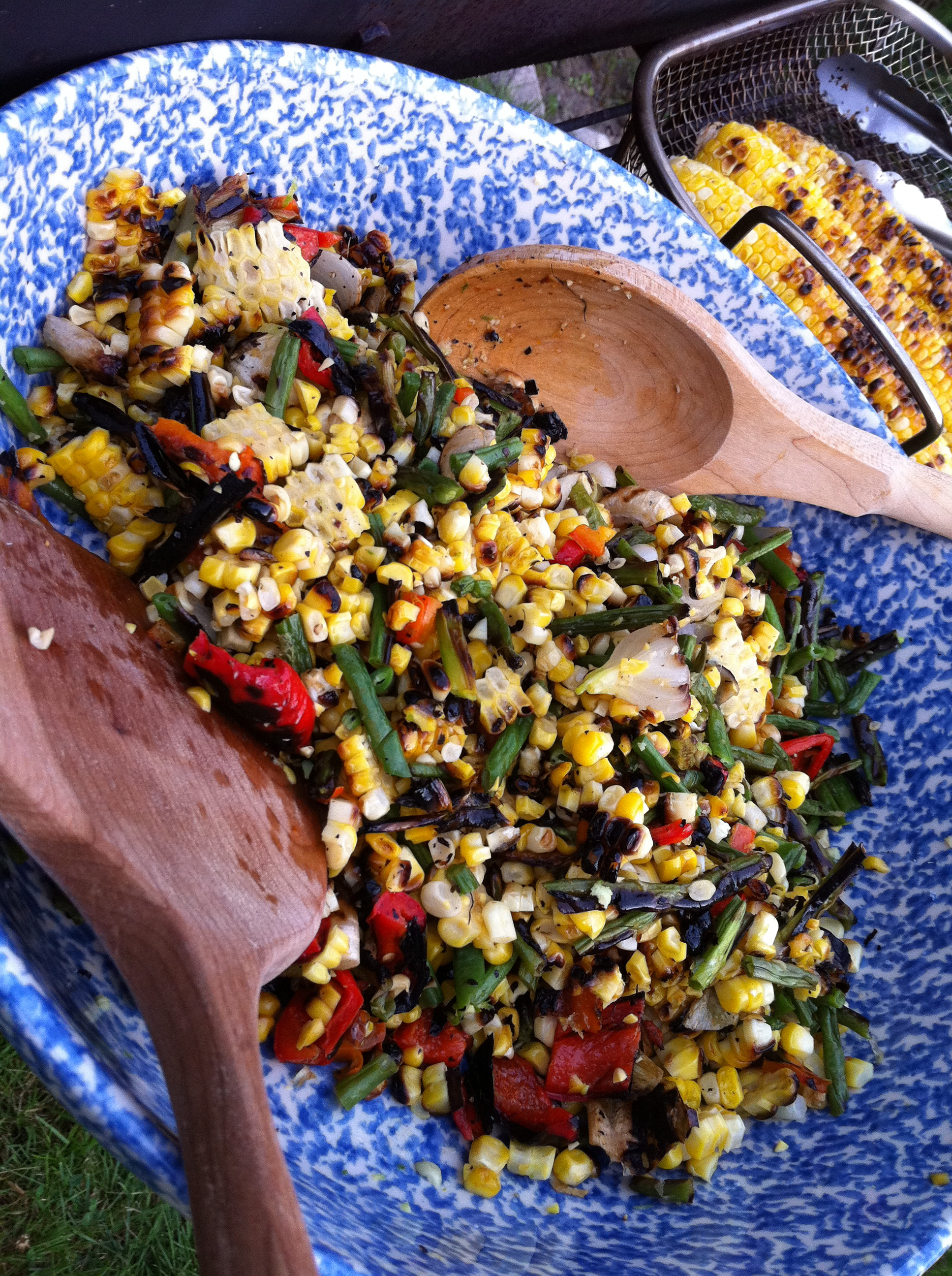 Grilled vegetables with corn, sweet peppers, bush beans, scallions and jalepeno peppers