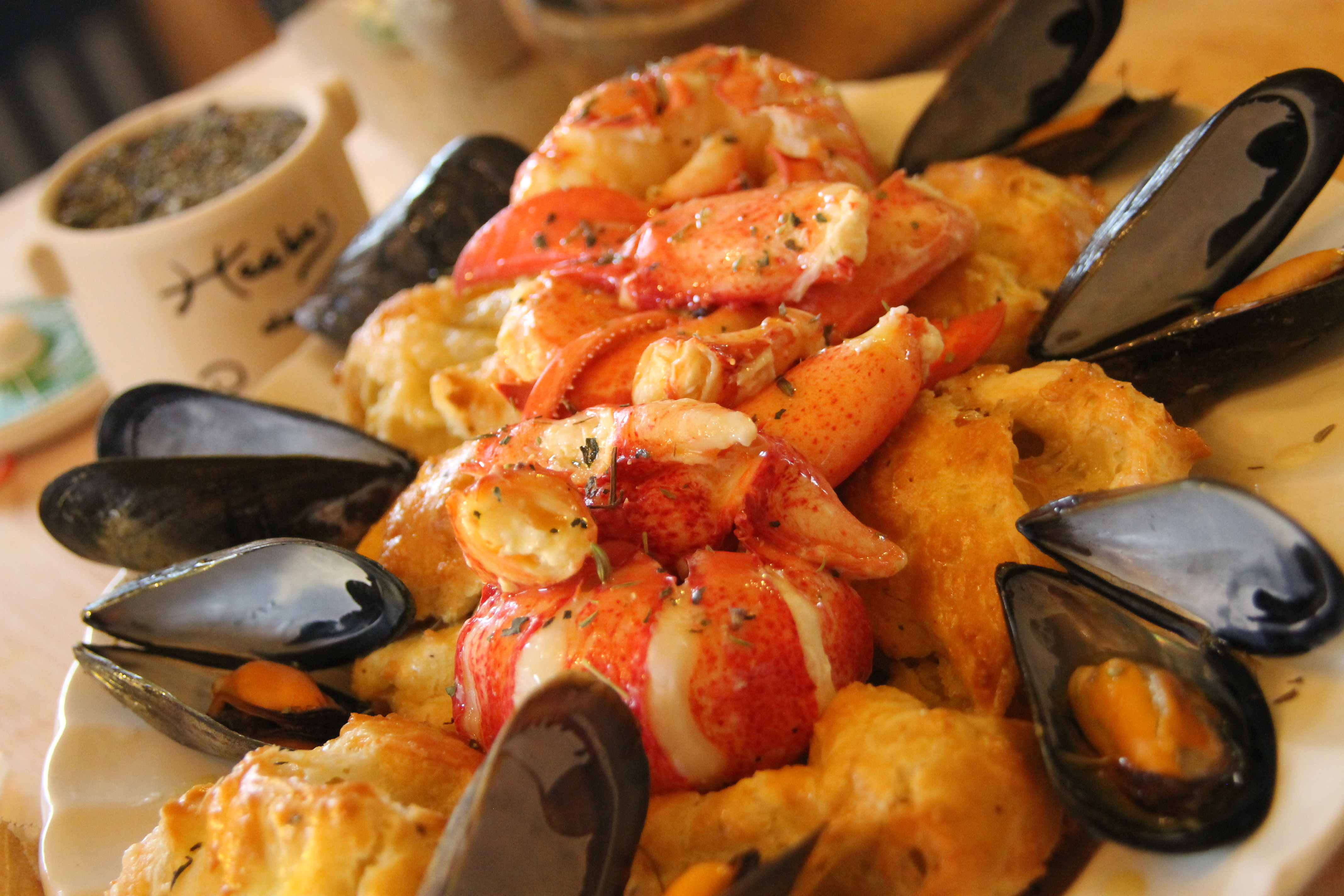 Lobster Gougères with Atlantic Mussels lobster, mussels , seafood recipe
