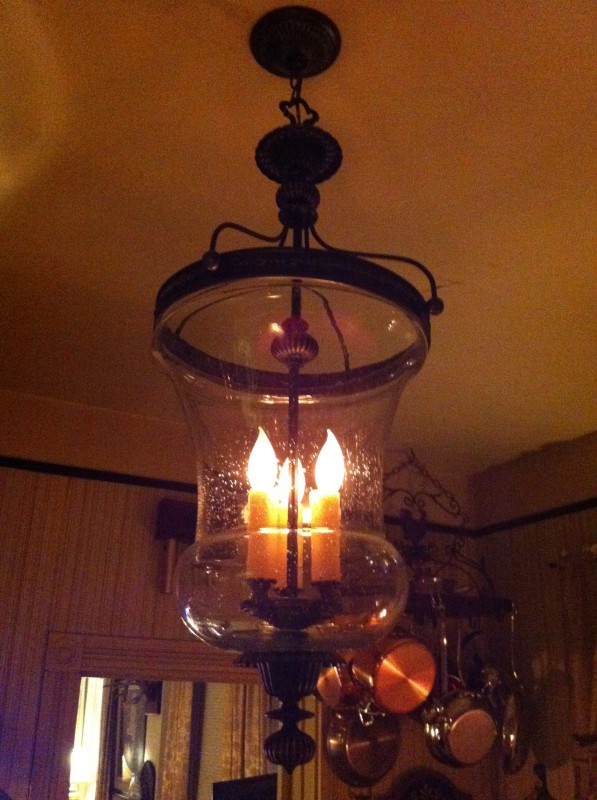 Night time for the new(olde) chandelier in my kitchen.