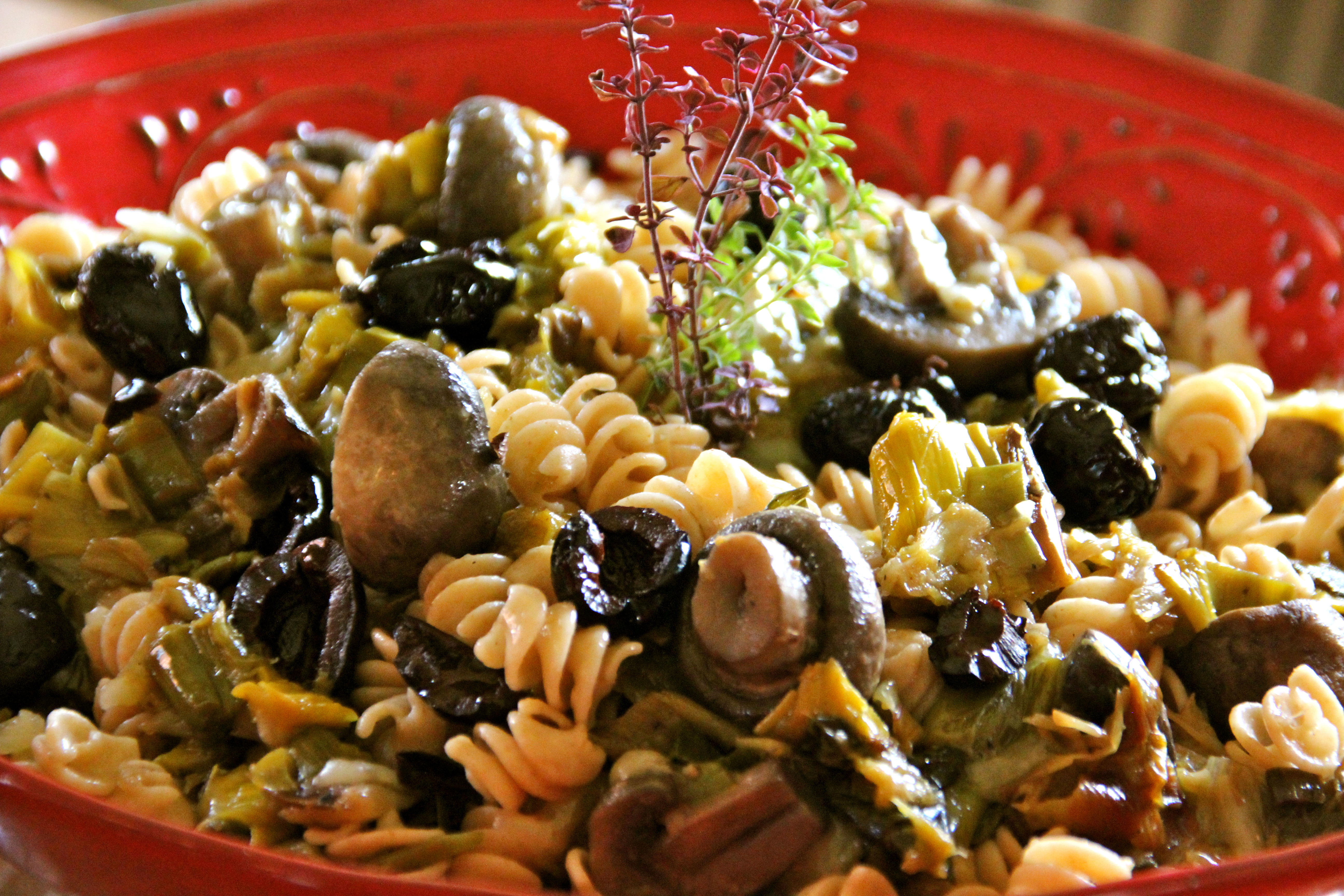 Whole Wheat Pasta, Leeks, Mushroom, vegetarian
