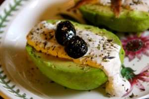 Avocado with French Stone Ground Mustard Sauce