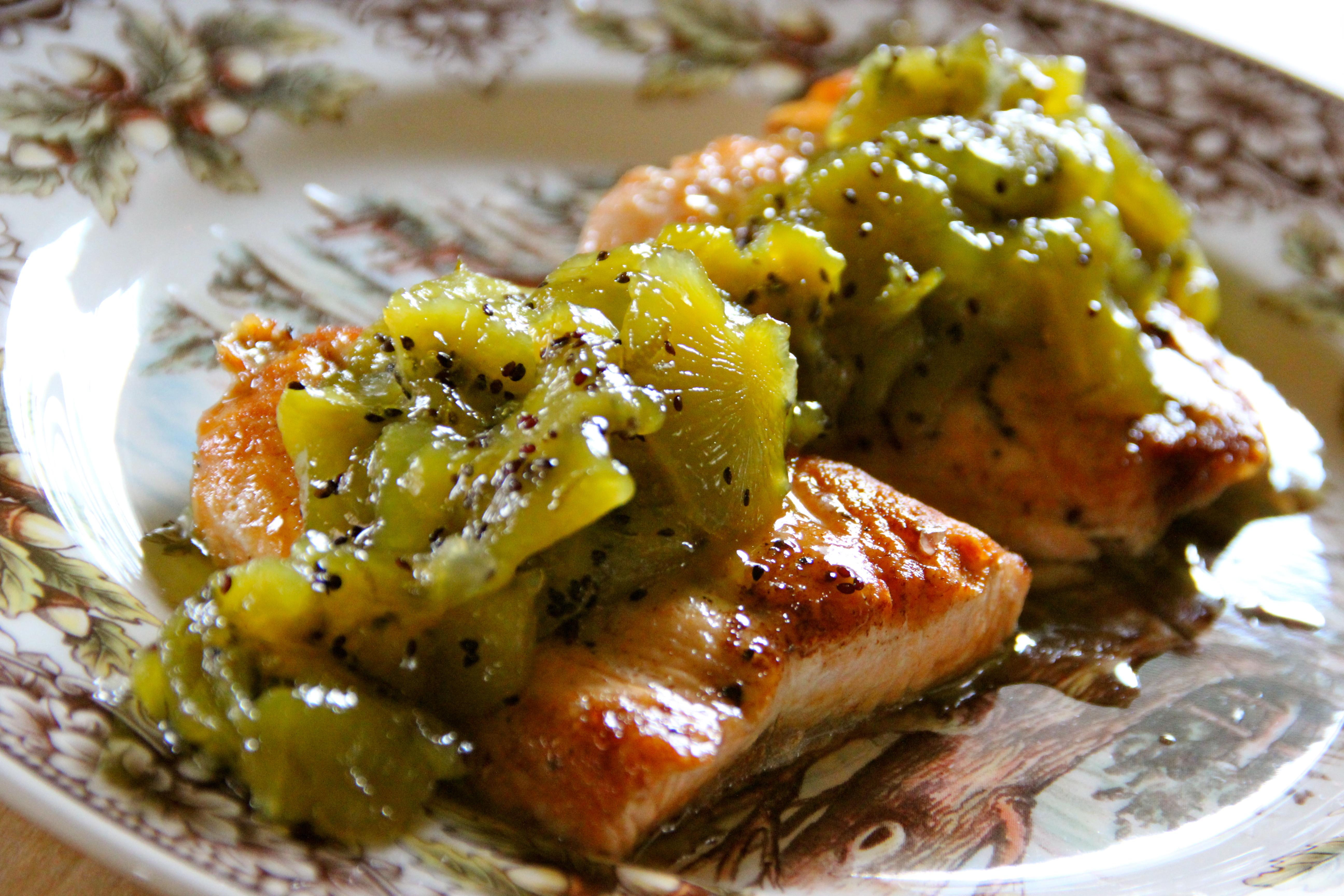Atlantic Salmon Kiwi Lime Sauce seafood recipe