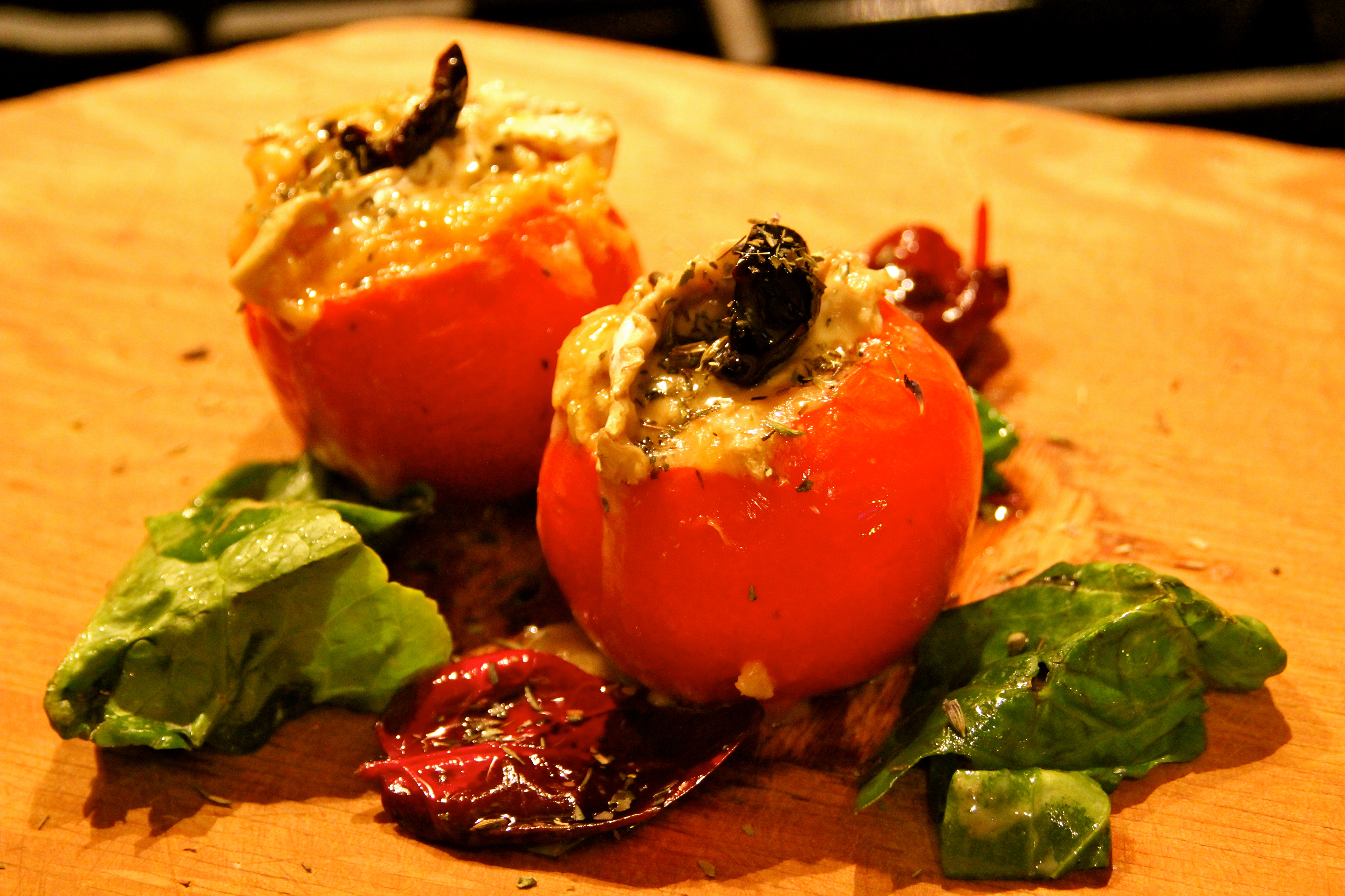 Garden Tomato, Whole Grain Rice, vegetarian, Cheese stuffed tomatoes, French cuisine