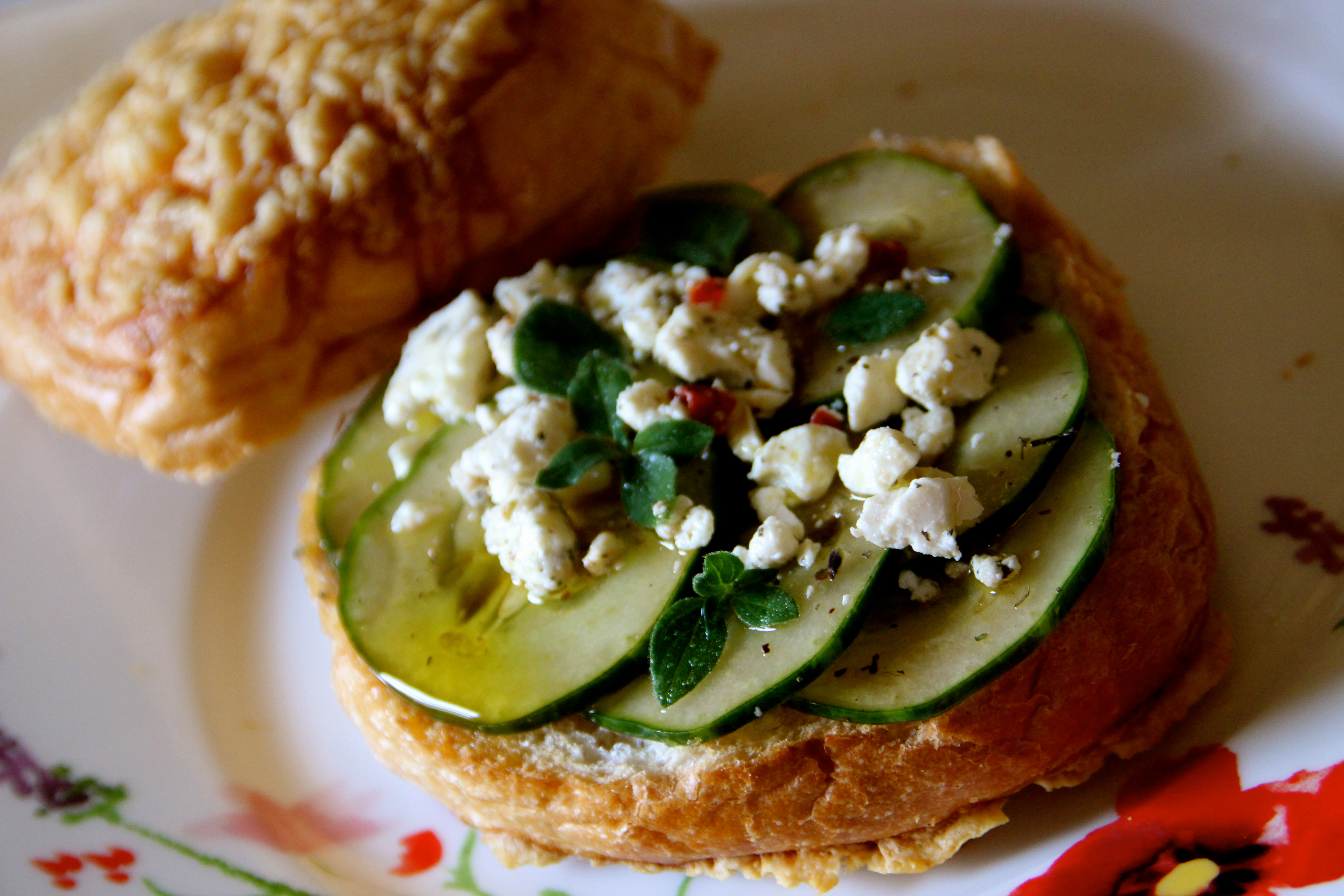 Marinated Cucumber, Toasted Cheese Roll, summer easy recipe