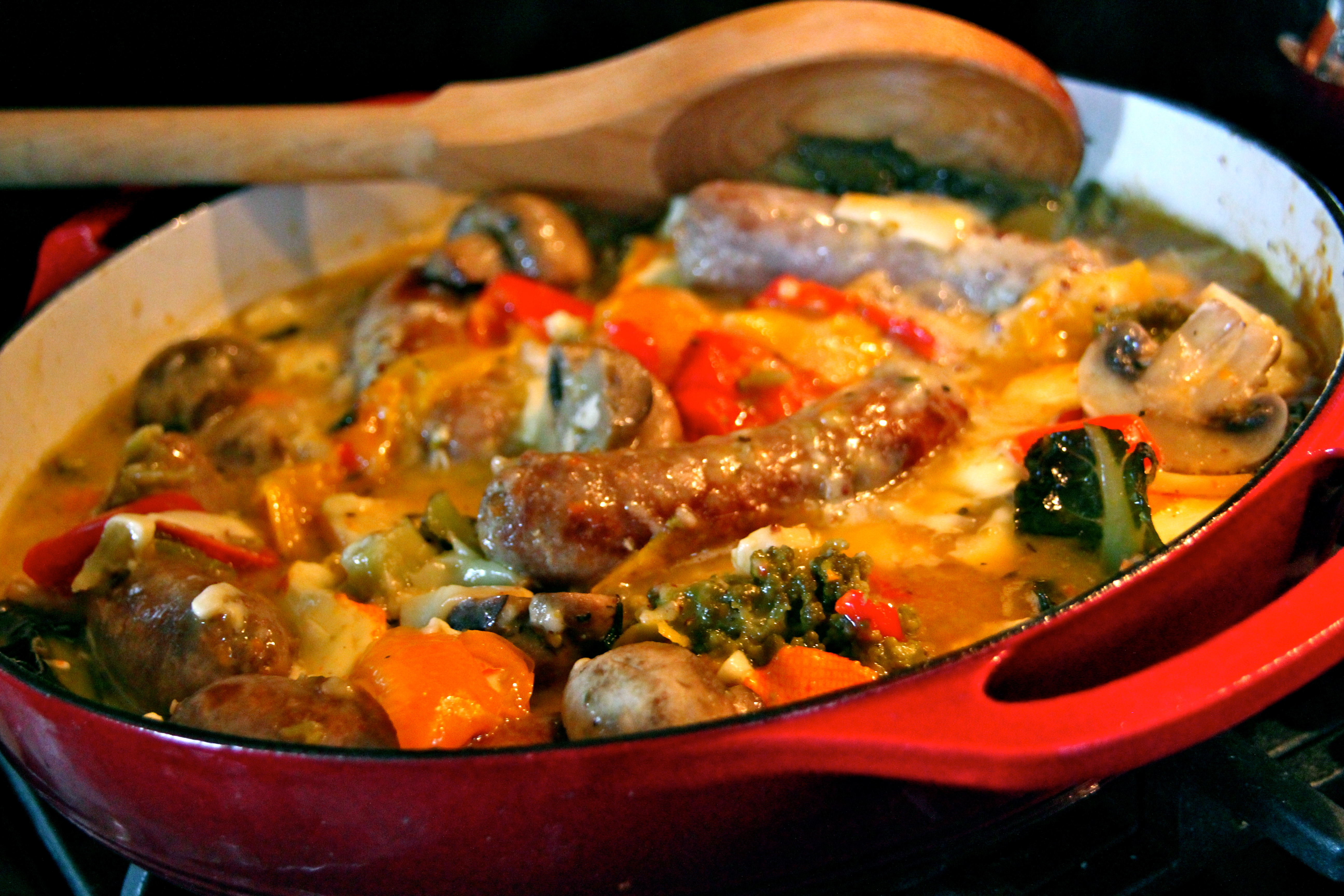 Summer Vegetables , Sausage, French cuisine, easy one pot meal