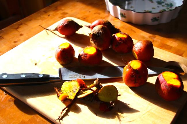 Preparing the fresh yellow beets..