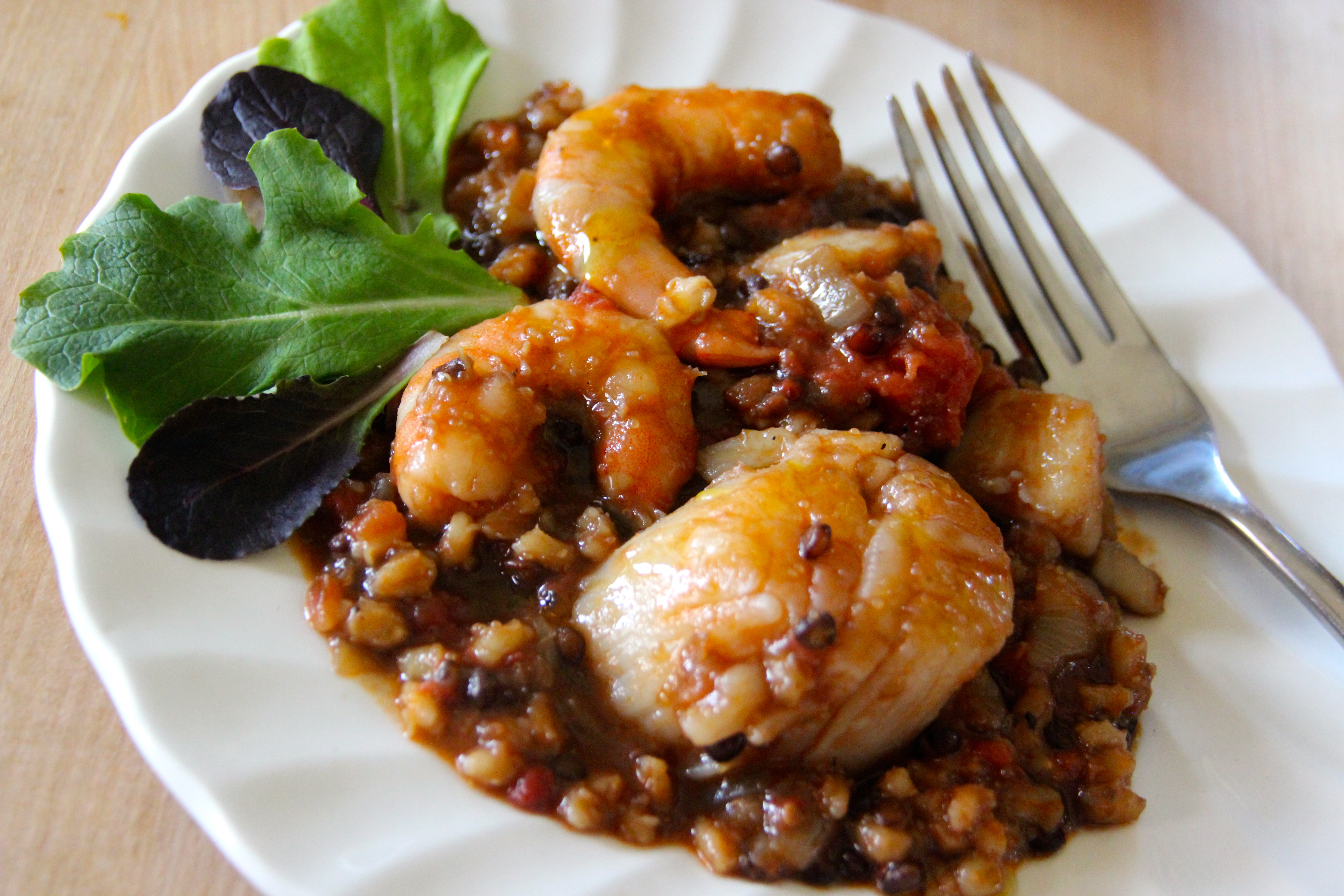 Scallop, Shrimp, whole grains, tomato sauce, French, easy recipe