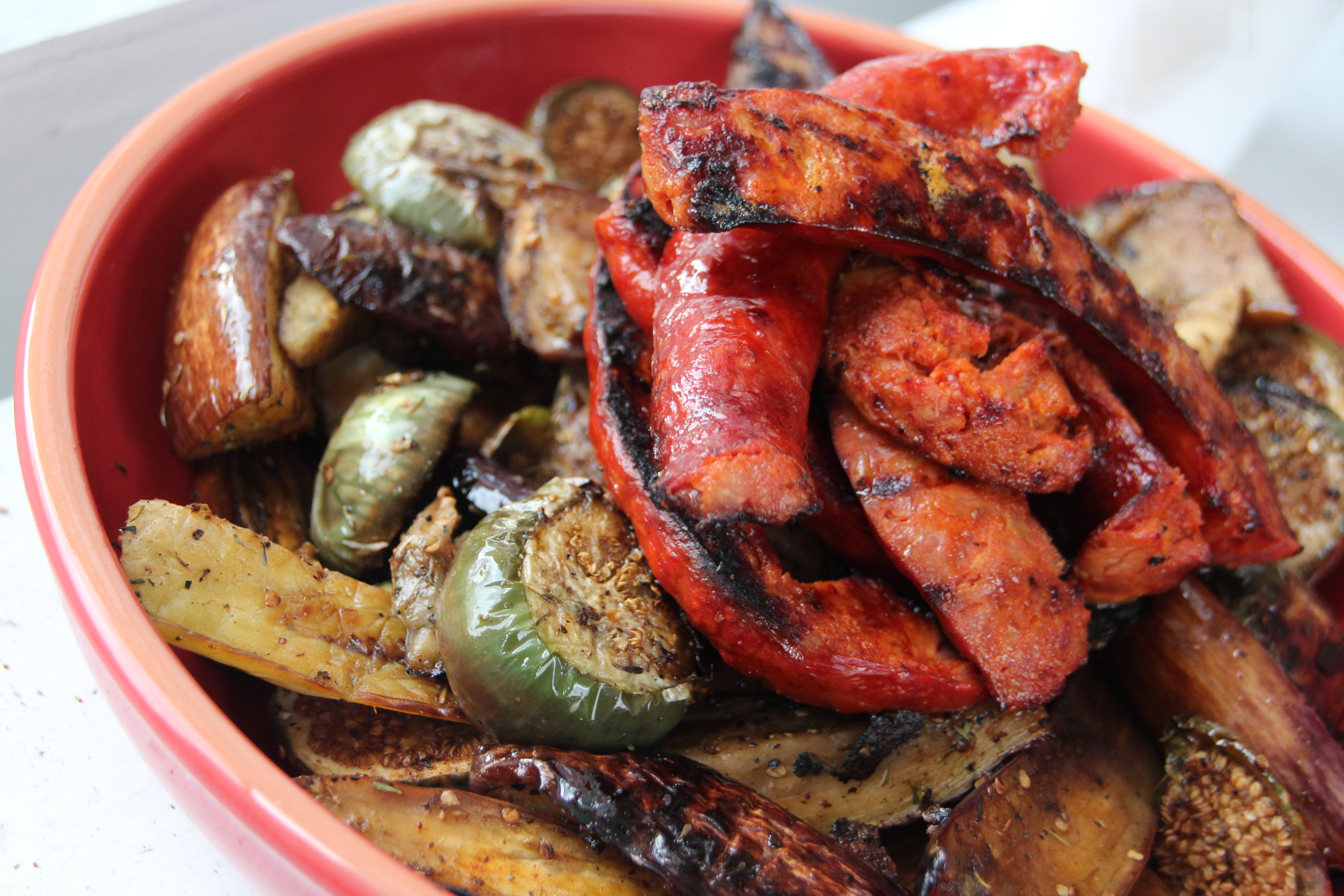 Grilled Eggplant, sausage, grilled sausage recipe, French, French recipe, easy summertime recipe