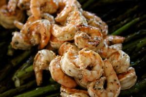 Crevettes Et Asperges Grillé