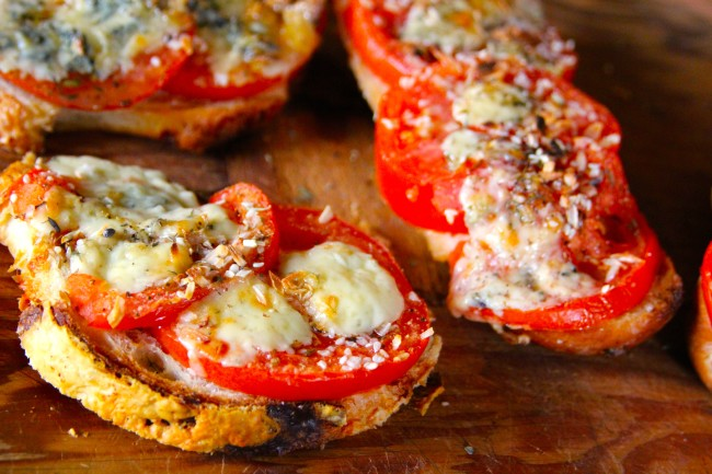 Fresh tomatoes from the garden are used on a fresh oven baked French bread to make a pizza like no other.